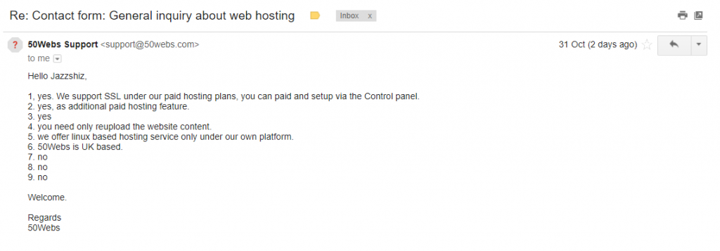 50Webs Prodigious Email Support