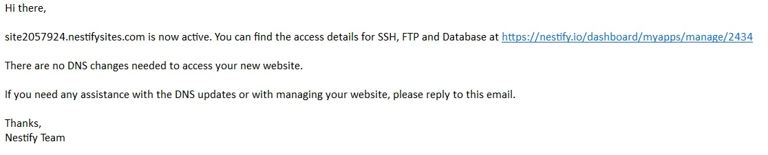 Nestify Confirmation Email