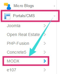 Click on MODX button
