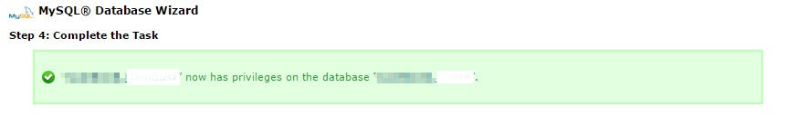 Completed database creation