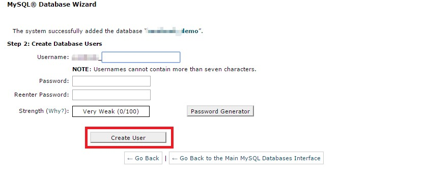 Create a Siteground database user