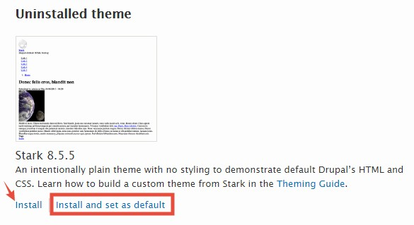'Install and set as default' button