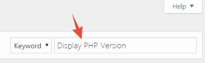 Search 'Display PHP Version'