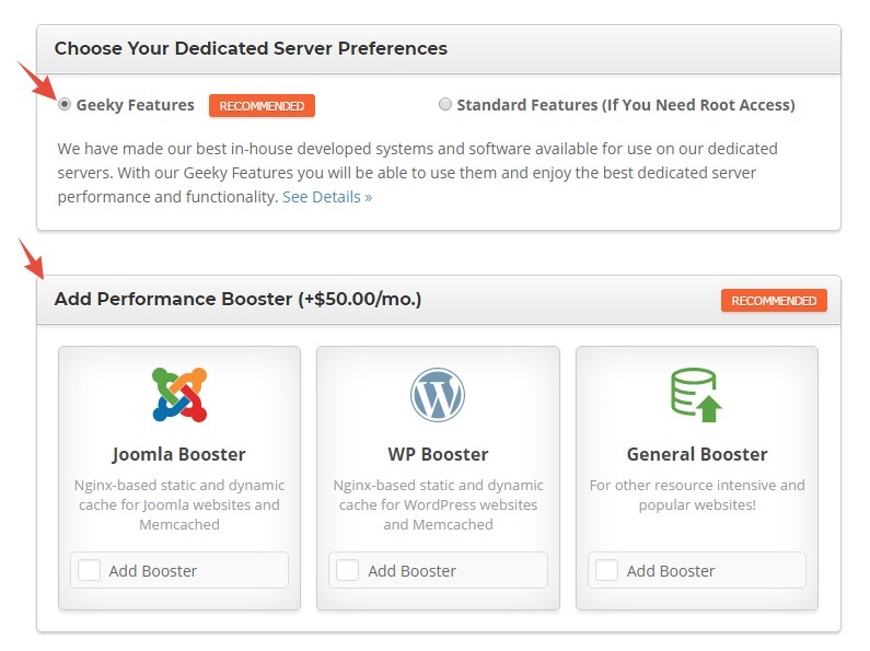 SiteGround Dedicated Hosting Plans with Geeky eatures