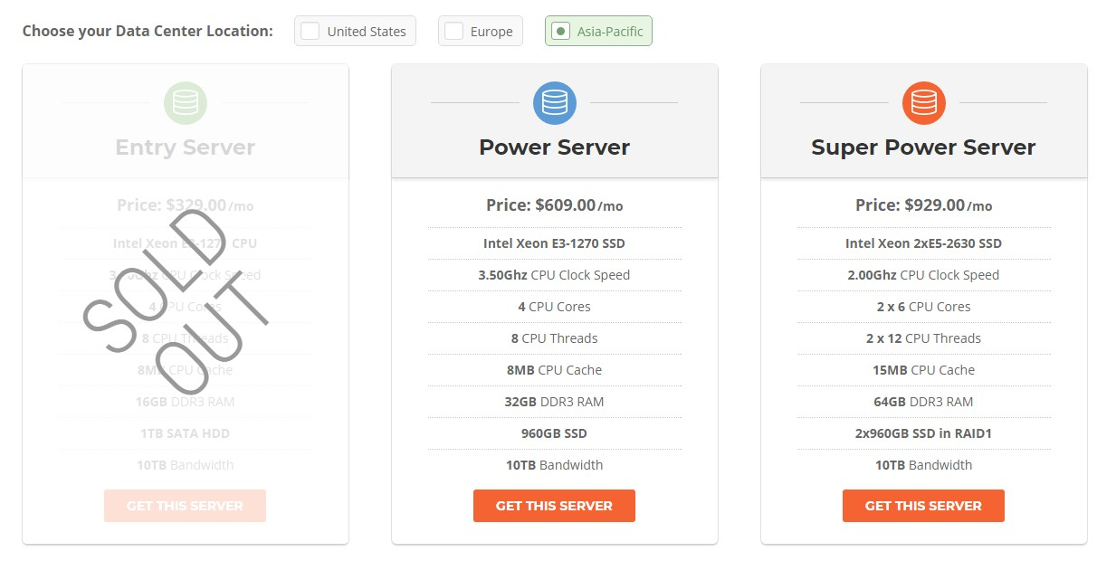 SiteGround Dedicated Hosting Plans for the Asian server