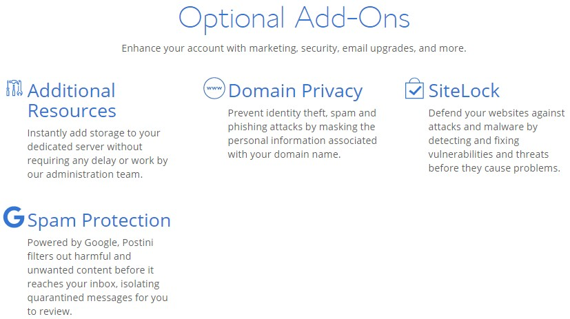 Optional paid add-ons