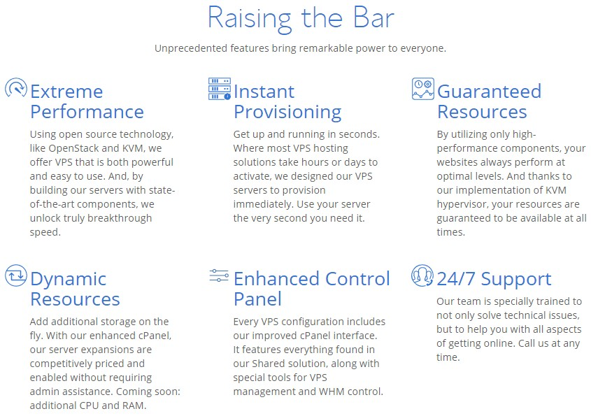 Services of Bluehost VPS Hosting