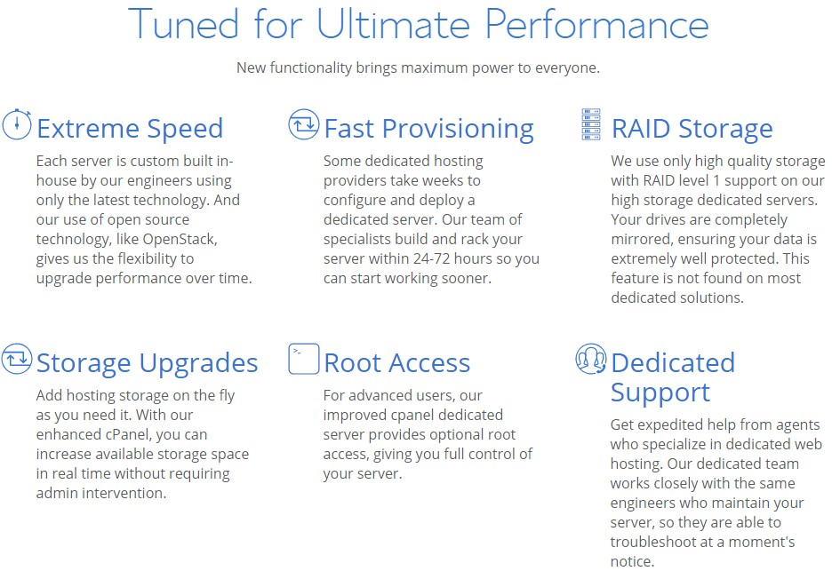 Services of Dedicated Hosting of Bluehost