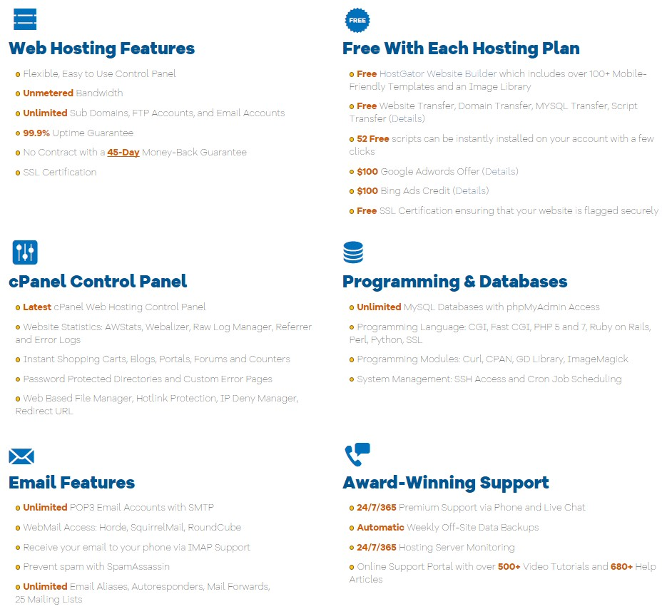 Features of Shared hosting of HostGator