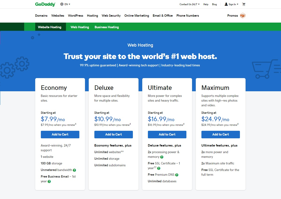 GoDaddy Shared Hosting Review 20 Economy, Deluxe, Ultimate and ...